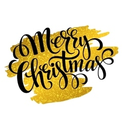 Marry Christmas gold glittering lettering design vector image