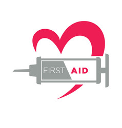 medical first aid syringe and heart icon vector image