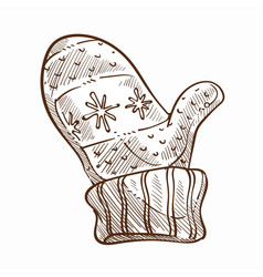 Mitten to wear in cold winter seasons isolated vector