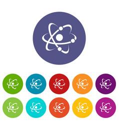 molecule icons set color vector image