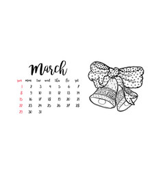 Monthly desk calendar template for month march vector