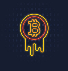 Neon bitcoin logo crypto currency icon sign vector