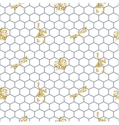 Netting outline seamless pattern with gold glitter vector