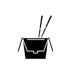 noodles in a box black icon sign on vector image