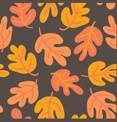 oak leaf seaonal background orange yellow gold vector image