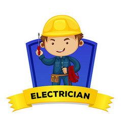 Occupation wordcard with word electrician vector