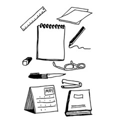 office business stationery set working tools vector image