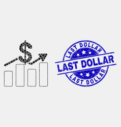 pixelated dollar trends icon and scratched vector image