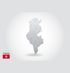 Polygonal tunisia map low poly design map made of vector