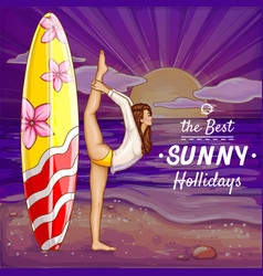 Pop art surfing girl on holidays vector