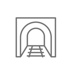 Railroad tunnel with rails railway road subway vector