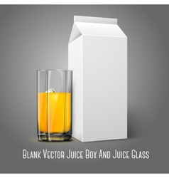 Realistic white blank paper package and glass for vector image