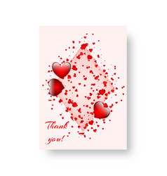 Rectangular card with scarlet hearts vector
