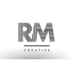 Rm r m black and white lines letter logo design vector