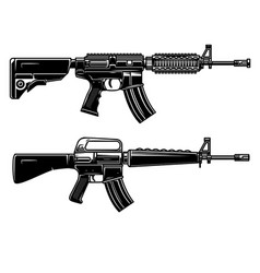 Set american automatic assault rifle design vector