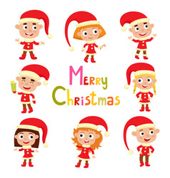 Set cute little christmas girls and boys elf in vector