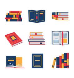 Set of books in flat design vector