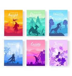 Set of diverse fantasy worlds vector
