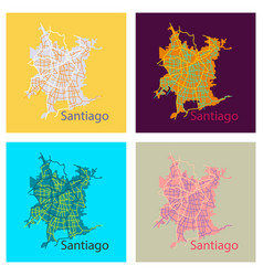 Set of flat road and administrative map vector