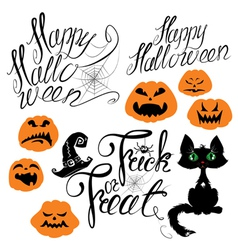 Set of Halloween elements - pumpkin cat spider vector image