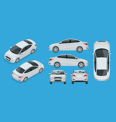 set of sedan cars compact hybrid vehicle eco vector image