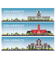 Set of university campus study banners vector
