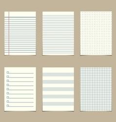 set of vintage line paper sheets vector image