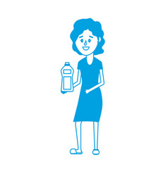 Silhouette woman hairstyle with bottle soap in the vector