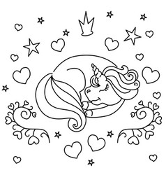 sleeping little unicorn vector image