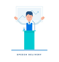 Speech delivery business concept cartoon male vector