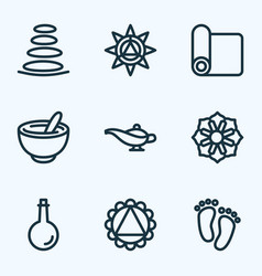 Spiritual icons line style set with spa stones vector
