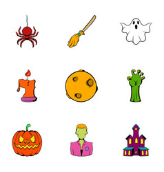 Spooky holiday icons set cartoon style vector