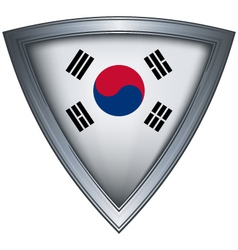 steel shield with flag korea vector image