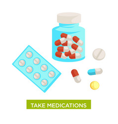 Take medications themed with bottle full of vector