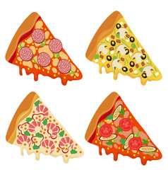 tasty fresh pizza slices isolated on white vector image