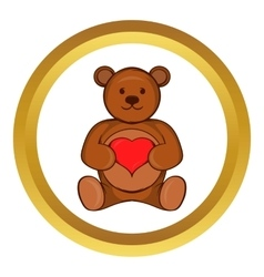 Teddy bear with red heart icon vector