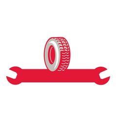 Tire With Spanner Wrench Retro vector