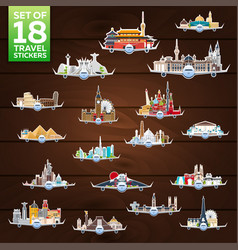Travel to world airplane with attractions big vector