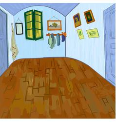 van goghs bedroom without furniture vector image