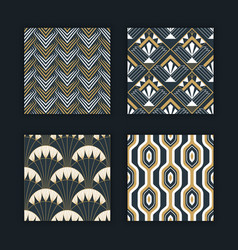 Vintage abstract art deco gold pattern set vector
