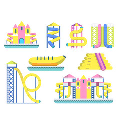 water park with various slide for childrens vector image