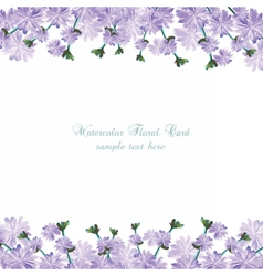 Watercolor delicate purple flowers card vector