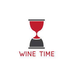 wine glass and sandglass design template vector image