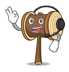 With headphone mallet mascot cartoon style vector