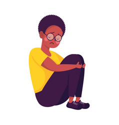 Young afro man seated victim bullying character vector