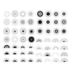 big set of retro sun burst shapes vector image