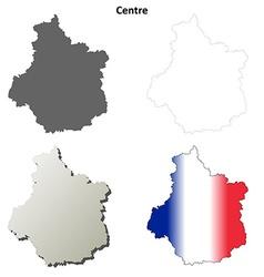 Centre region blank outline map set vector