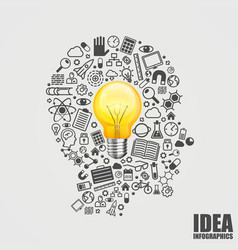 head of the icons with light bulb vector image