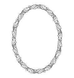 oak leaf oval frame black silhouette vector image