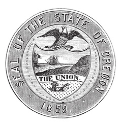 Oregon State Seal vintage engraving vector image